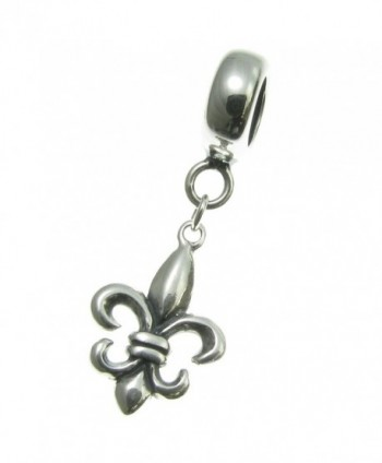 925 Sterling Silver Fleur-de-lis Scout Sign Dangle For European Charm Bracelet - CH11HTPRXYR