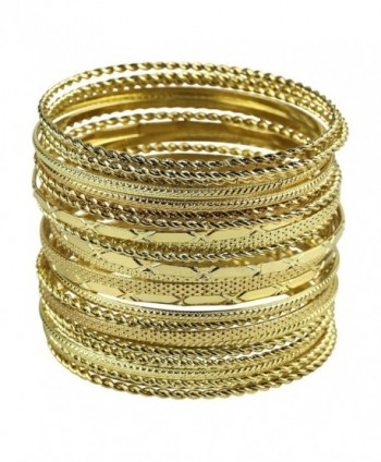 Lux Accessories Women's Multiple Bangle Bracelet Set - Gold - C5128K49KNH