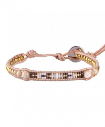 KELITCH Bohemian Seed Beaded Leather Charm Bracelet with Semi-precious Stones - Mother-of-pearl - C912J788QJ9