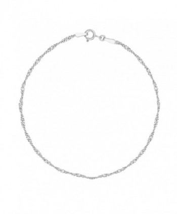 Sterling Silver Singapore Shiny Sparkle Anklet 10 Inches - CF119153SQF