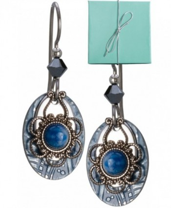 Blue Silver-tone Filigree Hammered Tear Drop Lapis Earrings Flower Crystal Gold-tone Surgical Steel - CH11EXB3UQF