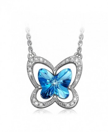 LADY COLOUR Blue Butterfly Necklace Made with SWAROVSKI Crystals-[Gift Packing] - CM12E9D5XYX
