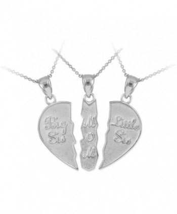 Personalized Sterling Silver Mom and Daughters Custom 3-Piece Breakable Heart Necklace - CW11LUOBPC9