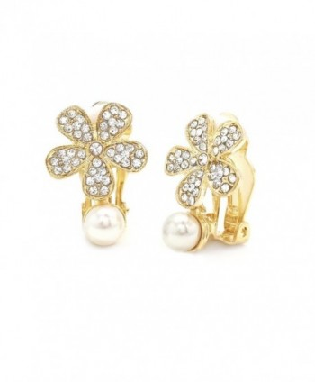 Simulated Pearl Clip On Earrings Flower Crystal Gold Plated Women Fashion - CX12869D0PZ