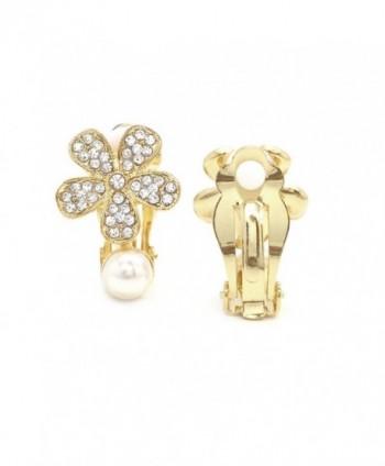 Simulated Earrings Flower Crystal Fashion