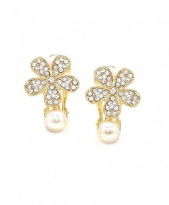 Simulated Earrings Flower Crystal Fashion in Women's Clip-Ons Earrings
