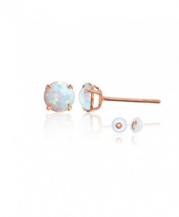 14K Rose Gold 4.00mm Round Stud Earring - Opal - CV187ID28SE