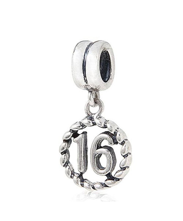Ollia Sterling Silver Beads European Style Charms Lucky Number Pendant Charm Dangle Charms - 16 - C912DOG0DP5