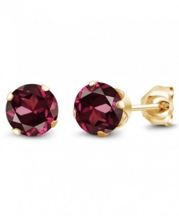 2.00 Ct Round Red Rhodolite Garnet Gold Plated Silver 4-prong Stud Earrings 6mm - C41174K2TGT