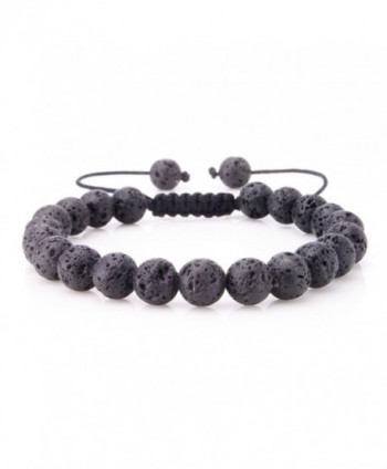 JewelrieShop 8mm Handmade Macrame Adjustable Synthetic Birthstones Beaded Bracelets - 8mm Synthetic Lava Stone - C611HFWCJRZ