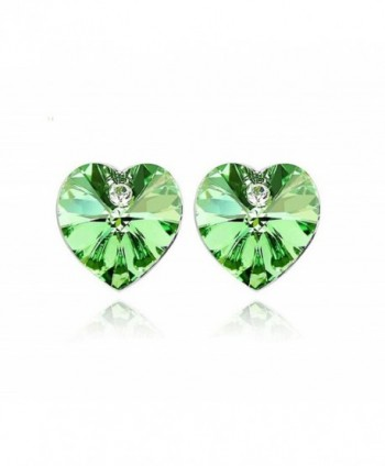 Heart Shaped Swarovski Element Crystal Stud Earrings Fashion Jewelry for Women - Green - CF11YUZHKI3