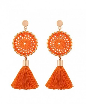 Solememo 7 Colors Handmade Bohemian Tassel Earrings Vintage Ethnic Jewelry Earrings - Orange - CK185HASNWX