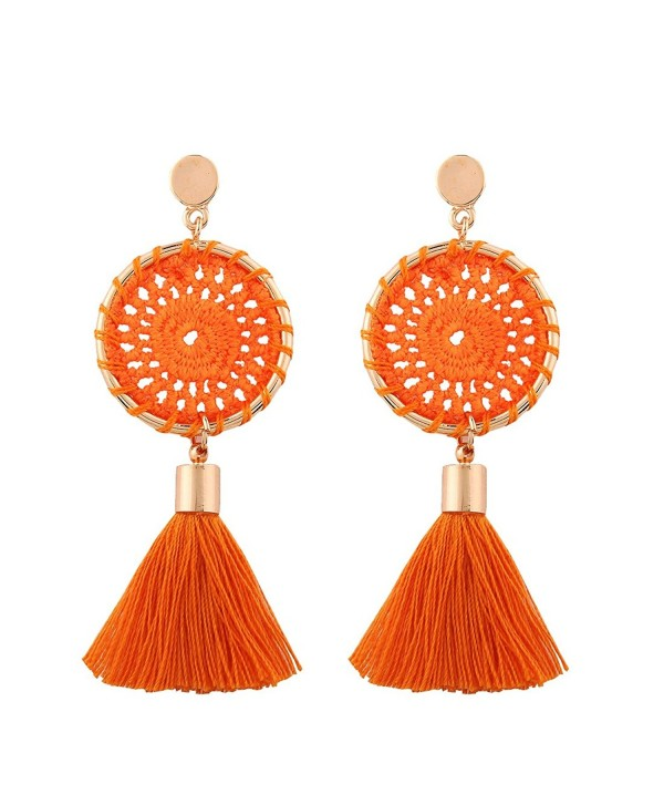 Solememo 7 Colors Handmade Bohemian Tassel Earrings Vintage Ethnic Jewelry Earrings - Orange - CK185HASNWX
