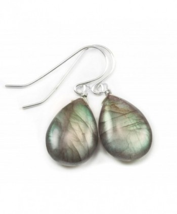 Sterling Silver Labradorite Earrings Smooth Fat Teardrop Blue Green Gold Flash Dangle Drops - C411DMKD9KZ