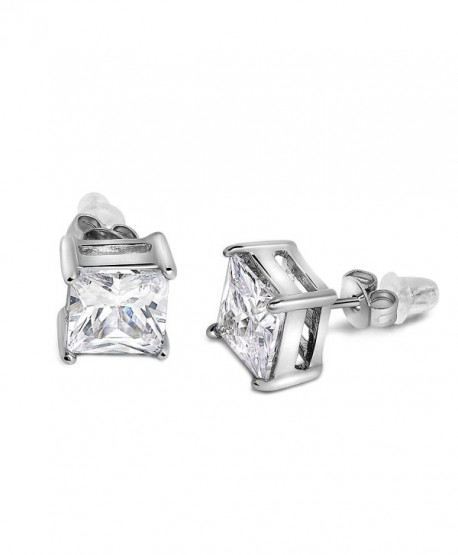 Buyless Fashion Surgical Steel Additional Push Back White Squared Crystal CZ Earring - CO11U0AA2YT