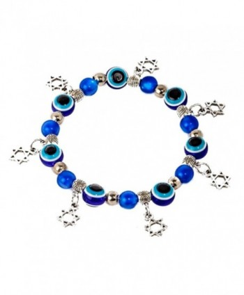 Evil eye Kabbalah stretched bracelet with glass beads- and 5 Magen David / star of David pendants - CW12O7NOE6U
