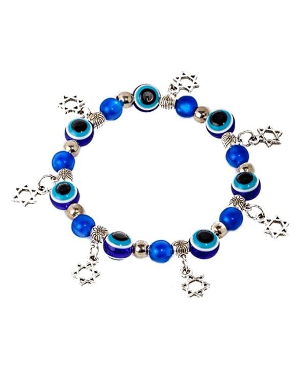 Evil eye Kabbalah stretched bracelet with glass beads- and 5 Magen David / star of David pendants - CW12O7NOE6U