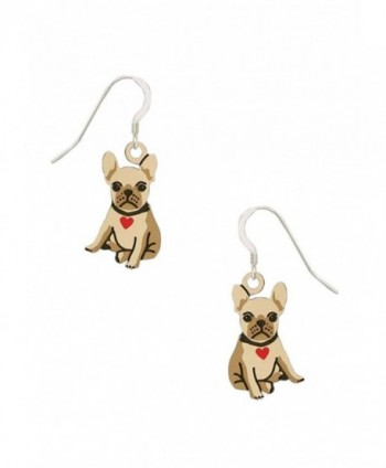Sienna Sky Bulldog Puppy with Heart Collar Earrings 1949 - C912IGGFR13