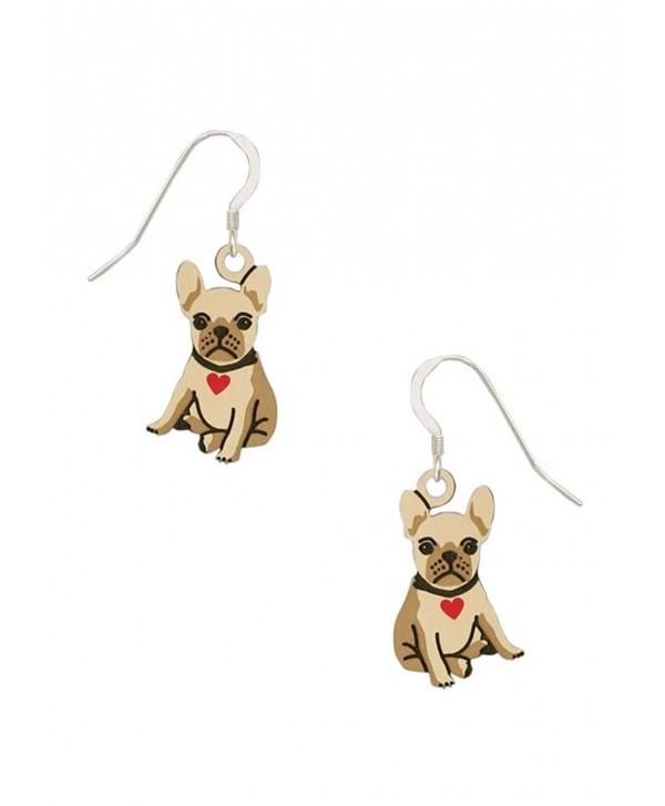 Sienna Sky Bulldog Puppy with Heart Collar Earrings 1949 - C912IGGFR13