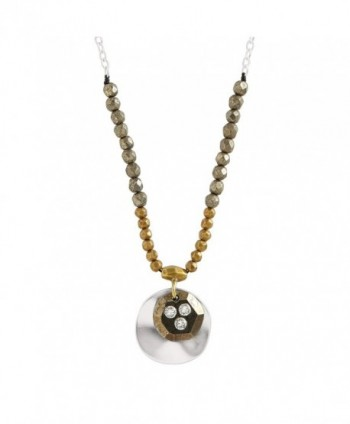 "Silpada 'Earn Your Stripes' Sterling Silver- Brass- Cubic Zirconia- and Pyrite Necklace- 16+2"" - C212O4SSHRK"