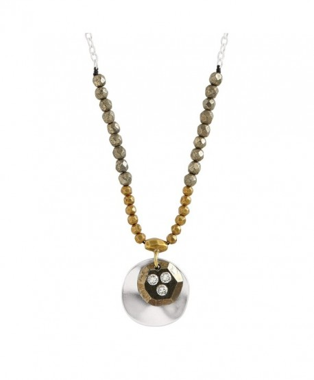 """Silpada 'Earn Your Stripes' Sterling Silver- Brass- Cubic Zirconia- and Pyrite Necklace- 16+2"""" - C212O4SSHRK"""