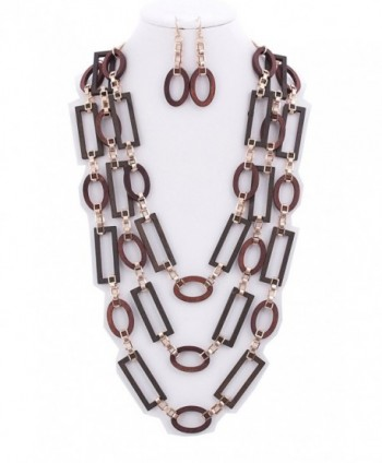 WOMEN'S FASHIONABLE 3-LAYER WOOD NECKLACE AND EARRINGS SET - Designed In USA - GOLD WOOD - CP1863X3O62