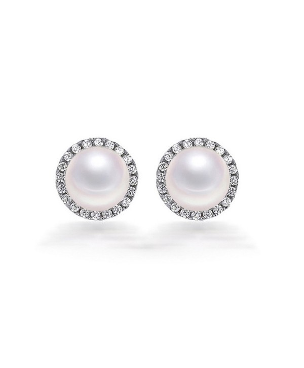 8mm Freshwater Button Pearl Stud Earrings in Sterling Silver - CC12NH54NJL
