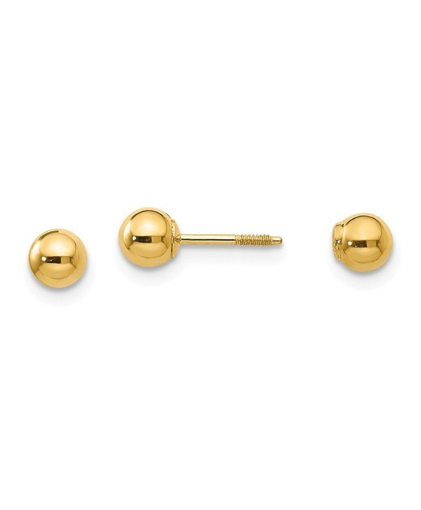 14k Gold Polished Reversible 4mm Ball Earrings (0.16 in x 0.16 in) - CV113974DKL