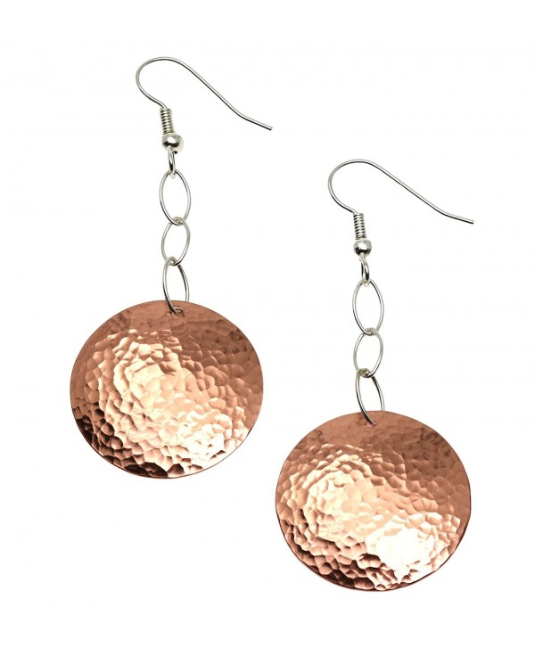 Hammered Copper Disc Earrings By John S Brana Handmade Jewelry Durable Copper Earrings - CS1191A949T