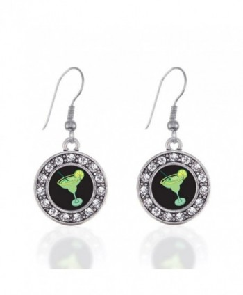 Margarita Lovers Circle Charm Earrings French Hook Clear Crystal Rhinestones - CB124BUAJ8D