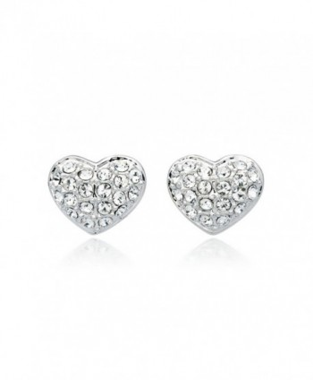 MYJS Alana Rhodium Plated Pave Heart Stud Earrings with Clear Swarovski Crystals - CL1230NESLR