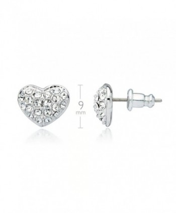 Myjs Alana Rhodium Plated Pave Heart Stud Earrings With Clear Swarovski Crystals Cl1230neslr