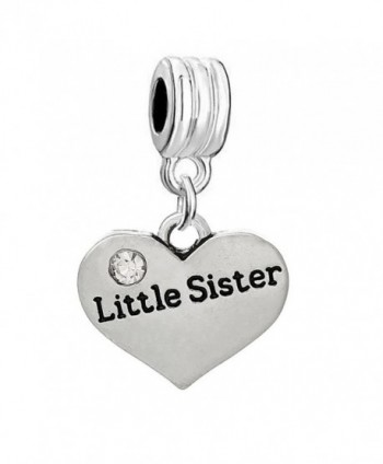 Little Sister Two Sided Heart W/ Clear Clear Rhinestones Charm Pendant for Snake Chain Bracelets - C311MH86RBL
