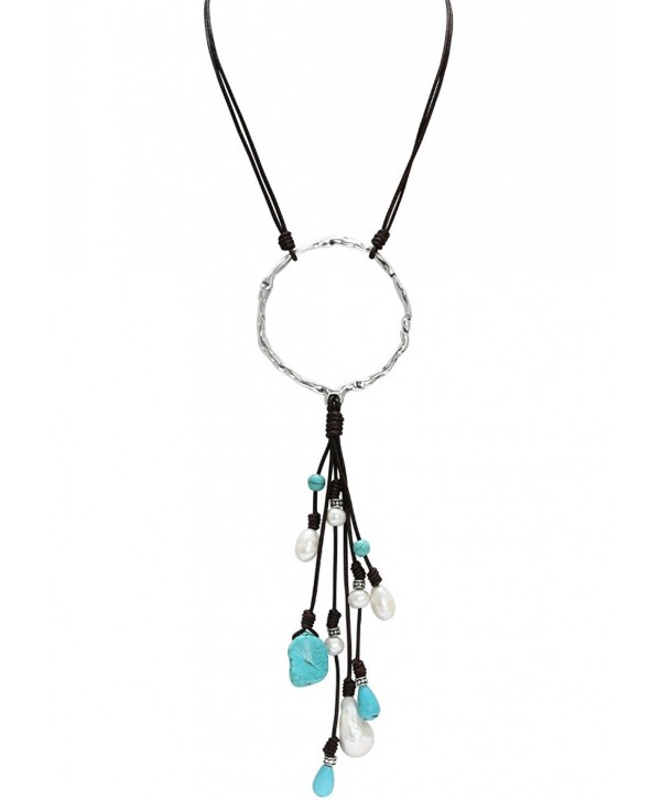 PearlyPearls Freshwater Cultured Pearl Leather Necklace with Turquoise Pendant Bohemian Jewelry for Women - Brown - C312HS0GLXB