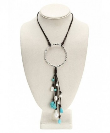 PearlyPearls Freshwater Necklace Turquoise Bohemian in Women's Y-Necklaces