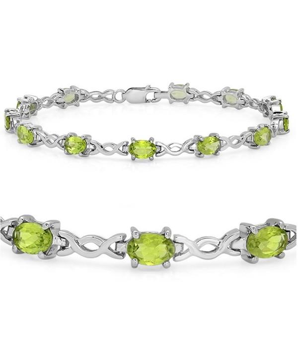6 ct Peridot Infinity Link Tennis Bracelet in Sterling Silver (7 1/4 inch) - CV11G3PN5UP