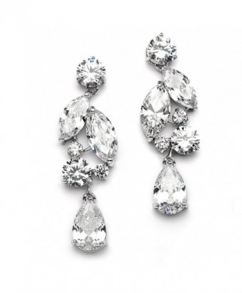 Mariell Dramatic Size Cubic Zirconia Statement Earrings - Glamorous Mosaic Special Occasion Chandeliers - CQ12305QJE9