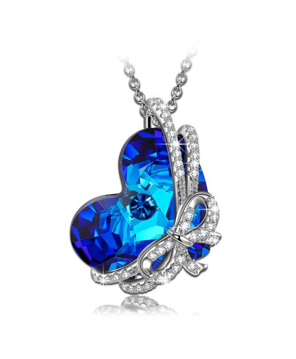 "QIANSE ""Heart of Ocean"" 925 Sterling Silver Necklace Made with Swarovski Crystals - Once in a lifetime gift - CV12O78JBZA"