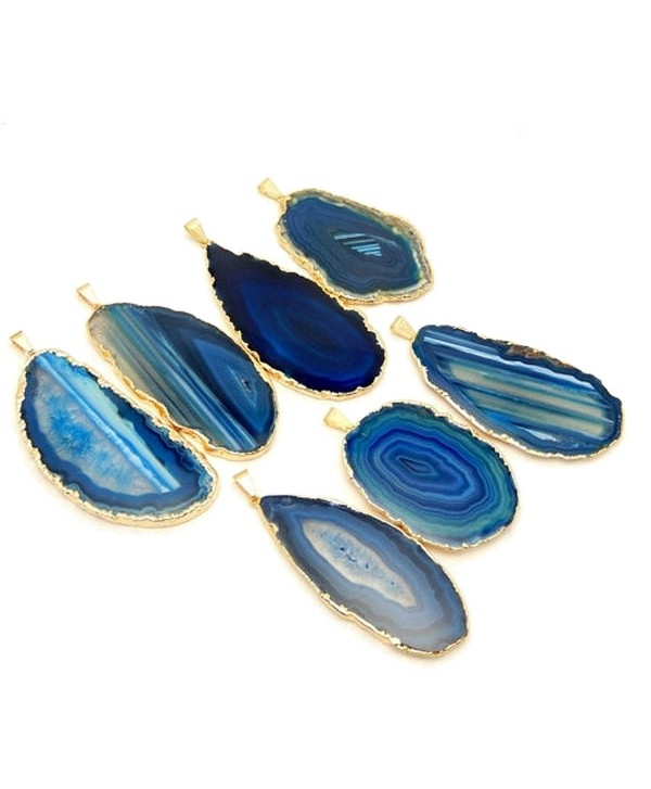 1 Blue Agate Pendant Plated with 24k Gold Edge Rock Paradise Exclusive COA AM8B9-01 - C3127MCVU31