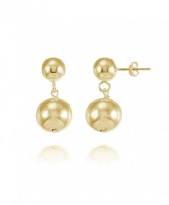 Sterling Silver Graduated Double Ball Bead Dangle Drop Earrings - C21842TYCE9