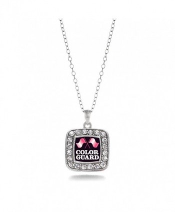 Color Guard Marching Band Charm Classic Silver Plated Square Crystal Necklace - CR11MCHXEY5
