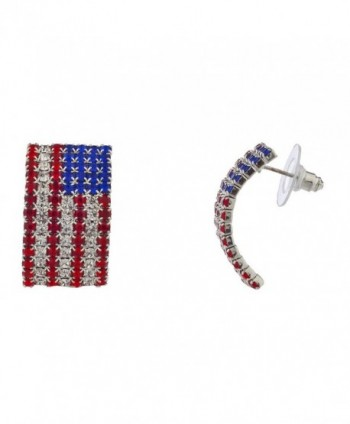Lux Accessories Red Crystal Blue America USA 4th July Rhinestone Flag Earrings - CS17YE7C6YK