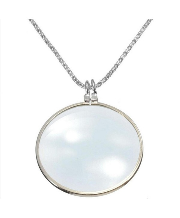 WensLTD Trendy Women 6x Magnifier Pendant Necklace Magnify Glass Reeding Decorativ Monocle Necklace - Silver - CO12N18I5BY