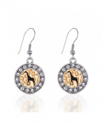 Giraffe Silhouette Circle Charm Earrings French Hook Clear Crystal Rhinestones - CE124BV8H9B