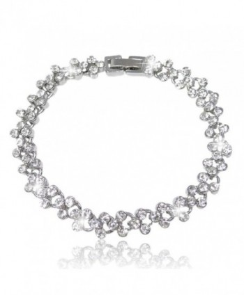 EVER FAITH Bridal Silver-Tone Circle Flower Bracelet Chain Clear Austrian Crystals - C611GS44RPD