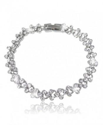 EVER FAITH Bridal Silver-Tone Circle Flower Bracelet Chain Clear Austrian Crystals - C611GS44RPD
