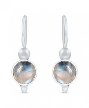 STELLAR DESIGNS Genuine Round Shape Gemstone .925 Sterling Silver Dangle Earrings - Rainbow Moonstone - C9187DOITIM