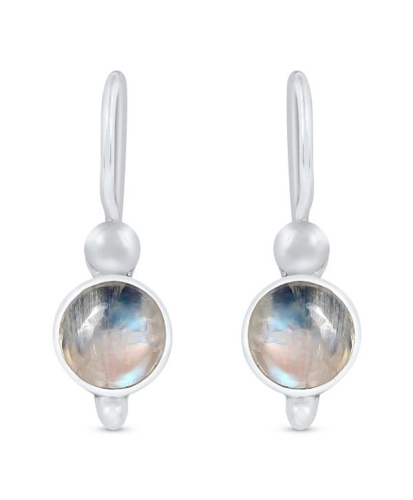 STELLAR DESIGNS Genuine Round Shape Gemstone .925 Sterling Silver Dangle Earrings - Rainbow Moonstone - C9187DOITIM