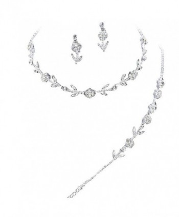 Elegant 3 Piece Clear Crystal Bridesmaid Bridal Necklace Earring Bracelet Set Silver Tone L2 - C311OLT34ZB