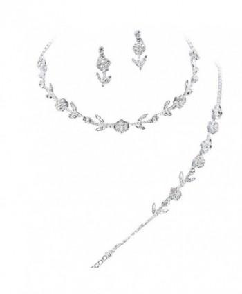 Elegant 3 Piece Clear Crystal Bridesmaid Bridal Necklace Earring Bracelet Set Silver Tone L2 - C311OLT34ZB